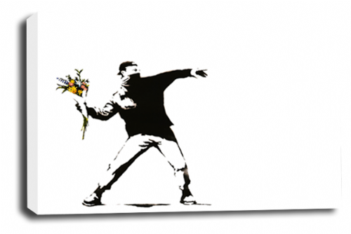 Banksy Art Flower Thrower Wall Canvas Peace Love Picture